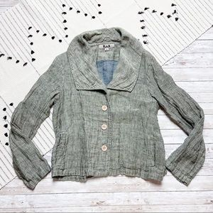 Flax Linen Blazer Jacket Green Grey Petite Small